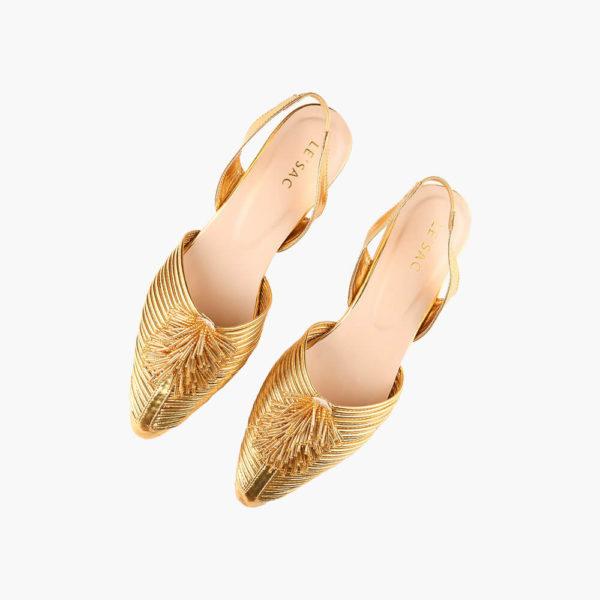 golden-sling back shoes